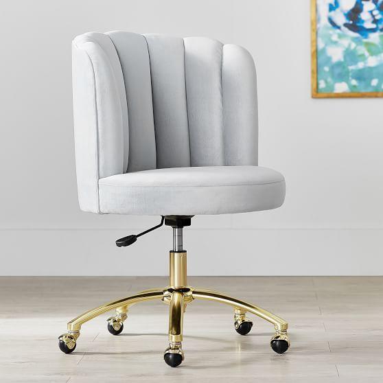 Lustre Velvet Silver Channel Stitch Swivel Desk Chair