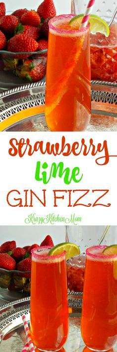 Strawberry Lime Gin Fizz A bright refreshing bubbly cocktail made with fresh strawberries.