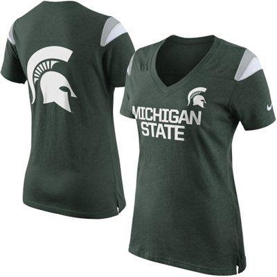 Nike Michigan State Spartans Ladies 2014 Fan Top T-Shirt - Green