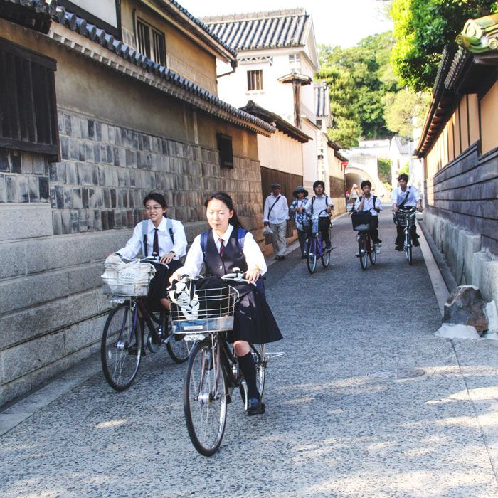 It is accustomed for kids to ride bicycles to go to school – it's fun and eco-friendly way to stay healthy.
