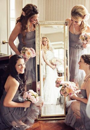 Bride to Be Reading ~ Mirror photo of the beautiful bride! Great wedding photo idea with your Bridesmaids to show off the dresses and flowers!