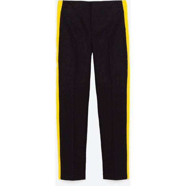 TROUSERS WITH SIDE BAND - TROUSERS-TRF | ZARA United States ($13) ❤ liked on Polyvore featuring pants, bottoms and zara
