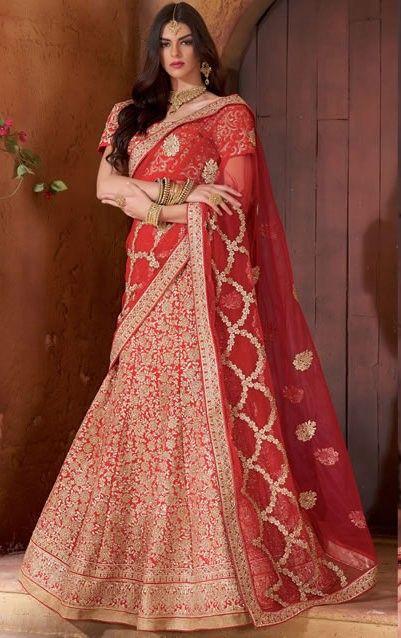 Designer Maroon Colour Banarasi Raw Silk Wedding Wear Bridal Lehenga Choli Buy Sarees