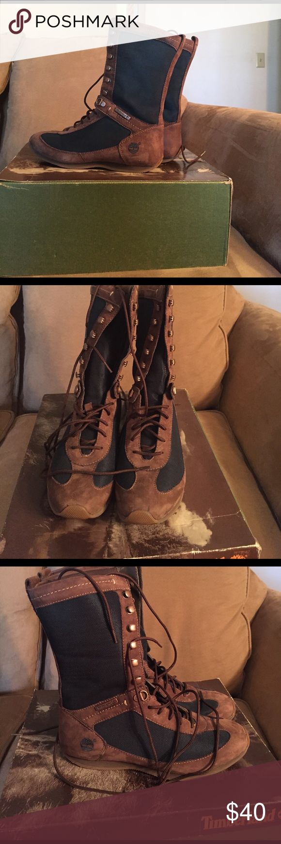 Timberlands Boots (Olive/Brown) ❤sale❤ Timberlands Lace Up Boot; Very comfortable; worn once; with box; no tags; looks great with shorts, jeans 👖, and 👗 Timberland Shoes Lace Up Boots
