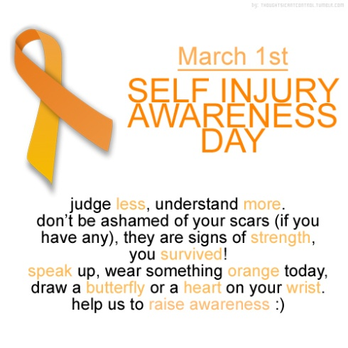 Self Injury Awareness Day. March 1st. Help those who self harm feel beautiful!!!!