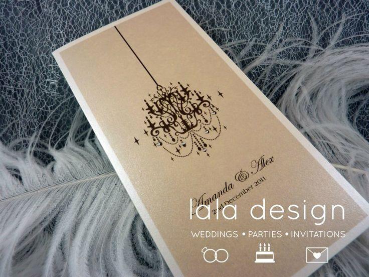 Peach chandelier graphic wedding invitation