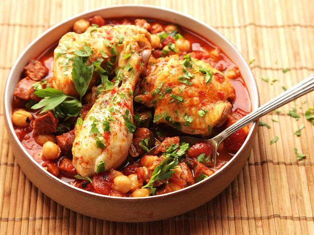 The pressure cooker is an amazing device for making flavor-packed stews in very short order. In this version, canned chickpeas, roasted tomatoes, smoked paprika, and chorizo come together to form a flavorful base for fall-off-the-bone tender chicken legs. It all cooks in under half an hour start to finish.