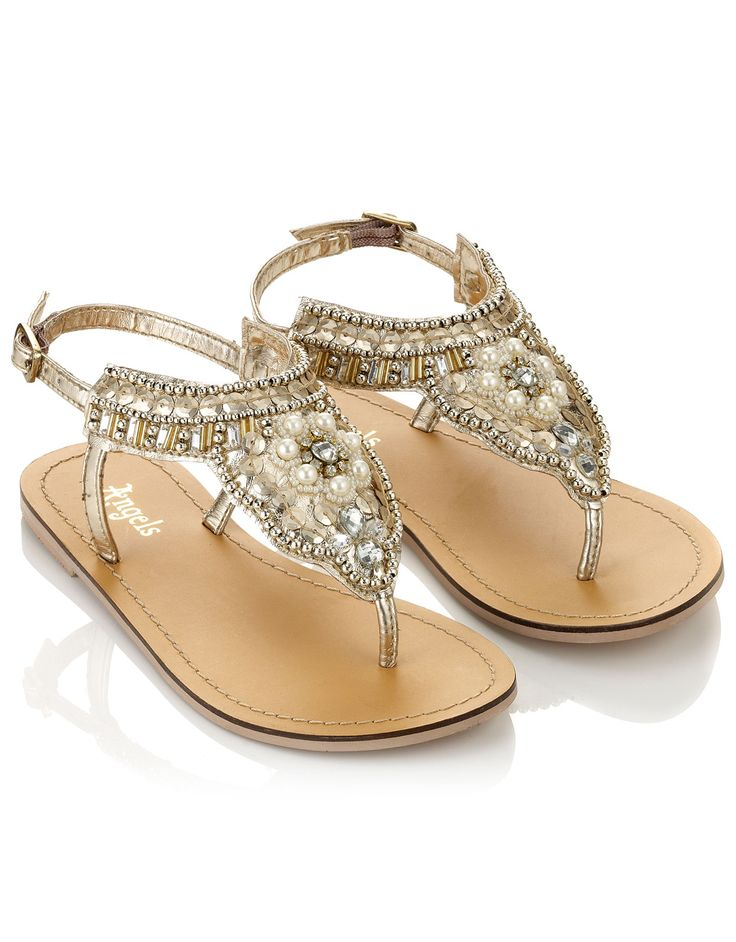 Gold Beaded Sandals | Gold | Accessorize #Monsoon #Accessorize #Holiday