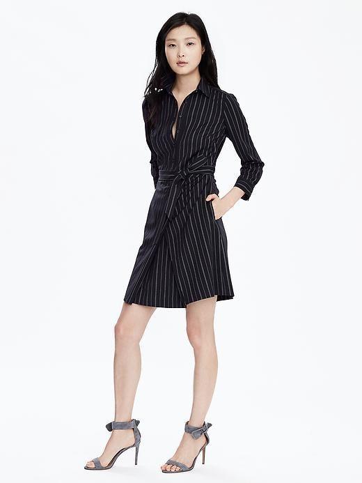 Pinstripe Tie-Waist Shirtdress