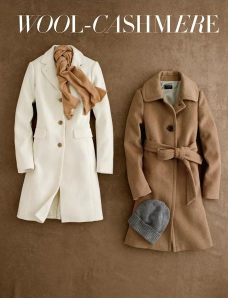 winter jackets from j.crew  LOOOVE the Winter white!!! But I don't know if I could keep it clean