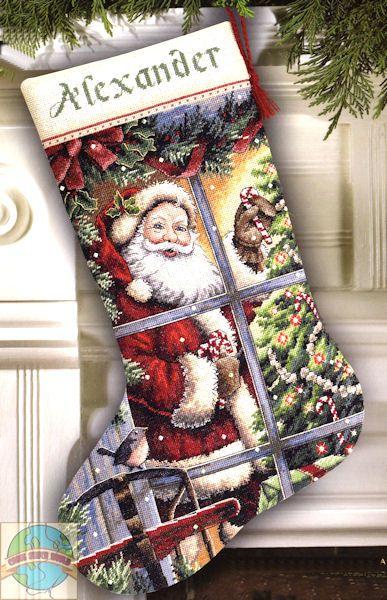 stocking cross stitch patterns kooler | Gold Collection - Candy Cane Santa Stocking - Cross Stitch World