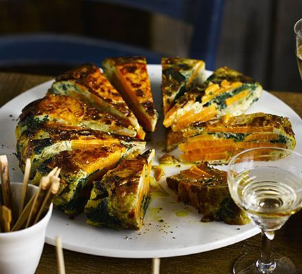 Sweet potato adds a different flavour to this healthy Spanish-inspired tortilla. It's perfect to prepare ahead of a tapas night.