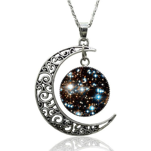 Necklace crescent moon Evil Cat Eye Punk Silver HARAJUKU Goth Kawaii... ($3.36) ❤ liked on Polyvore featuring jewelry, necklaces, black, gothic jewelry, rock necklace, silver necklace, black necklace and silver star necklace