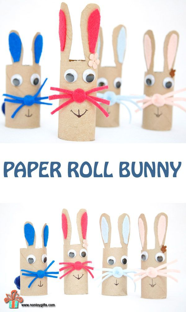 Easter bunny craft for toddlers and preschoolers. Make the bunnies from towel paper / toilet paper rolls | at Non Toy Gifts