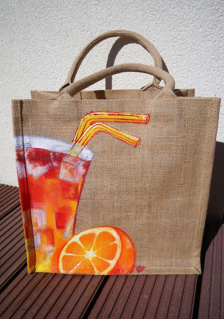 sac shopping,peint à la main,  sac jute naturelle, motif coktail, sac résistant, sac courses, cadeaux mamans, fêtes des mères, sac plage de la boutique EllesetNo sur Etsy