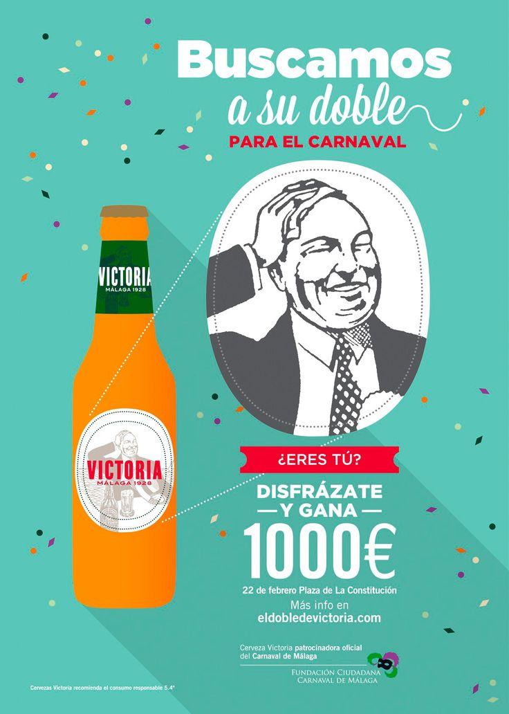 Cervezas Victoria ~ Fabricante de una de las cervezas más populares de Málaga. Este es el cartel que creamos en Factor ñ para carnaval.