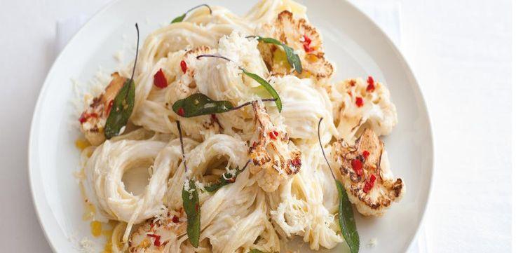 Krémové špagety s pečeným květákem