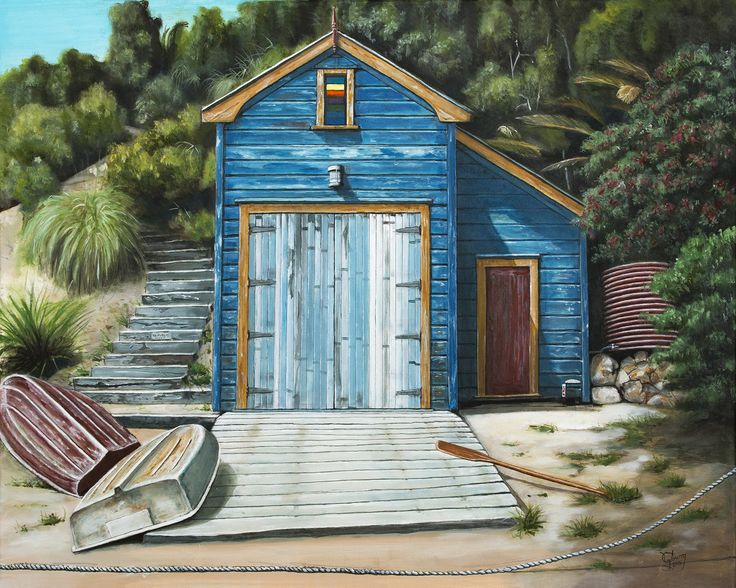 Little Oneroa Boatshed by Graham Young. www.imagevault.co.nz