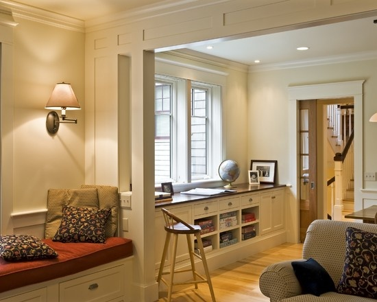 Built Inbuffet Design, Pictures, Remodel, Decor and Ideas - page 4: Craftsman Window, Living Rooms Design, Built In, Window Trim, Storage Design, Rooms Dividers, Traditional Living Rooms, Window Seats, Pockets Doors