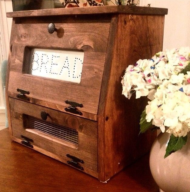 Rustic Bread Box Vegetable Bin wooden Punched Tin Storage Primitive Cupboard Onion Potatoes Country Kitchen handmade wood woodworking by dlightfuldesigns on Etsy https://www.etsy.com/listing/254540789/rustic-bread-box-vegetable-bin-wooden