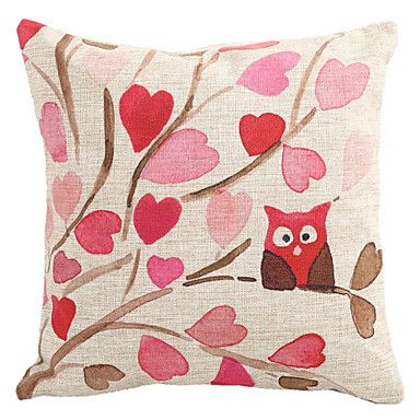 "Createforlife® 18"" Tree Branch Owl Love Heart Leaf Decorative Cotton Linen Square Pillow Case Cushion Cover  – USD $ 15.74"