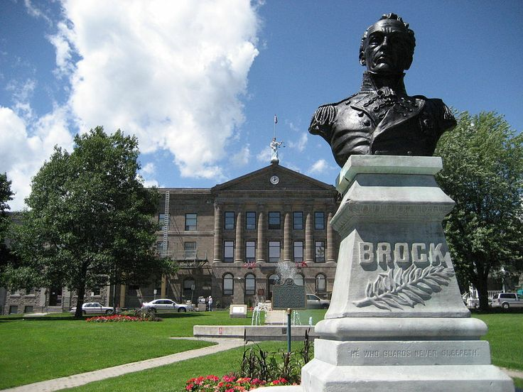 Statue of General Isaac Brock outside the courthouse in Downtown Brockville, Ontario