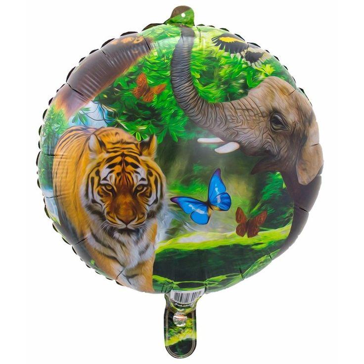 Helium ballon safari dieren rond. De ballon wordt gevuld met helium bij u bezorgd. De ballon is opgeblazen ongeveer 45 cm groot. Deze folie ballon wordt gevuld met helium geleverd en kan derhalve niet worden geretourneerd.
