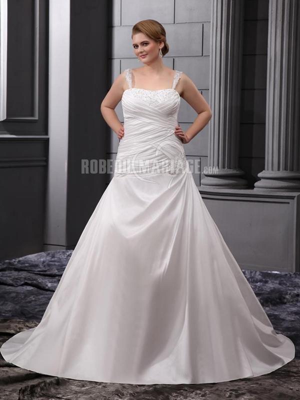 Bretelles fines robe de mariée de grande taille en satin ornée de broderie et de paillettes [#ROBE2013056] - robedumariage.com