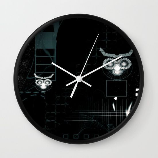 "Owls digital abstract illustration WALL CLOCK BLACK WHITE  Available in natural wood, black or white frames, our 10"" diameter unique Wall Clocks feature a high-impact plexiglass crystal face and a backside hook for easy hanging. Choose black or white hands to match your wall clock frame and art design choice. Clock sits 1.75"" deep and requires 1 AA battery (not included)."