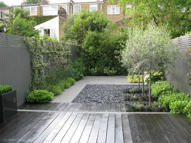 Backyard Landscape Design - Modern Backyard with Beach Stones. from lushome.com