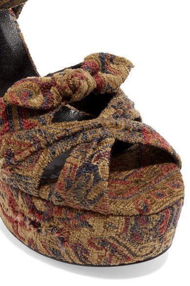 Saint Laurent - Candy Brocade Sandals - Brown