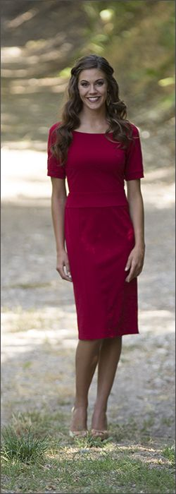 Harper, a modest red dress, great for work and many occasions.
