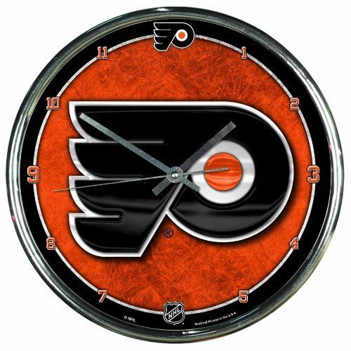 nhl philadelphia flyers chrome clock by wincraft 2199 officially licensed wall clock attention grabbing styling for any room