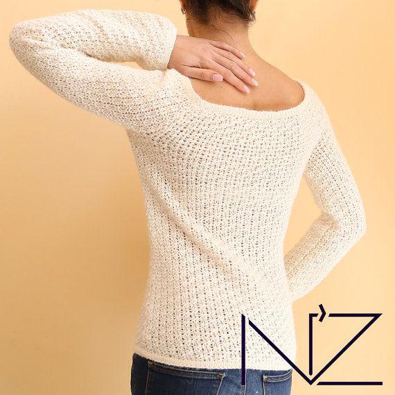 White wool sweater Vintage sweater Womens Winter Knit sweater Pullower Alpaca wool Crew-neck garment Slip over Jersey Grunge sweater #nz_look