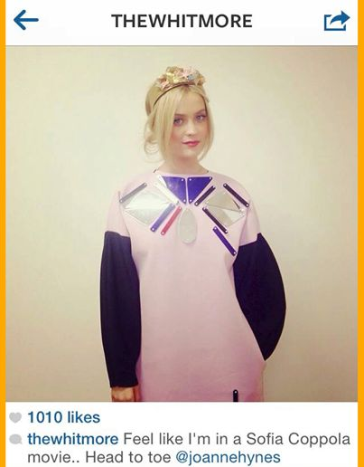 Laura Whitmore wearing her JH Stardust Perspex Dress and her Marie Antoinette Hairband