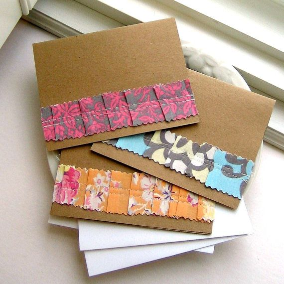 Cards Fabric Cards Ruffle Cards Blank Cards by tracyBdesigns, $6.50