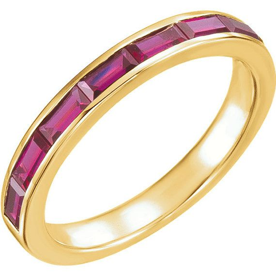 Ruby Baguette Ring 14k Yellow Gold Womens Wedding Band