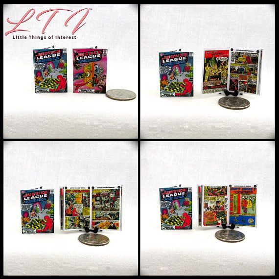 4 Mini  /'JUSTICE LEAGUE OF AMERICA/'   Comics Dollshouse 1:12 scale OPENING