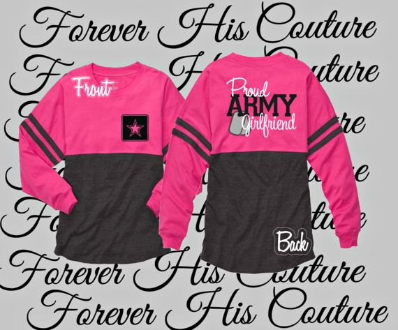 Repin if you love you soldier. Proud Army Girlfriend Pom Pom Jersey tee Army by ForeverHisCouture