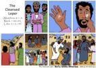 Jesus heals man with leprosy