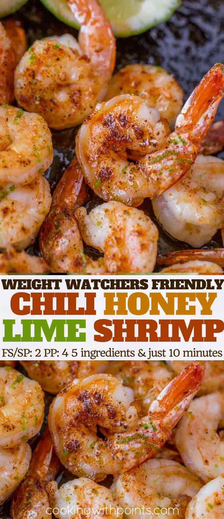 Chili Honey Lime Shrimp with just five ingredients is a quick and easy main dish, salad topping, taco filling or more with just 2 Weight Watchers smart points per serving.