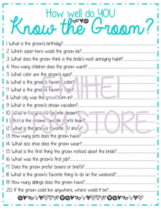 How Well Do You Know the Groom Bridal Shower Game TURQUOISE -Fun, Detailed…