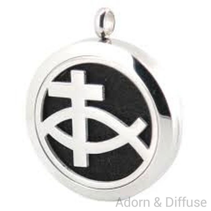 Cross & Fish Ichthys Diffuser Locket Necklace