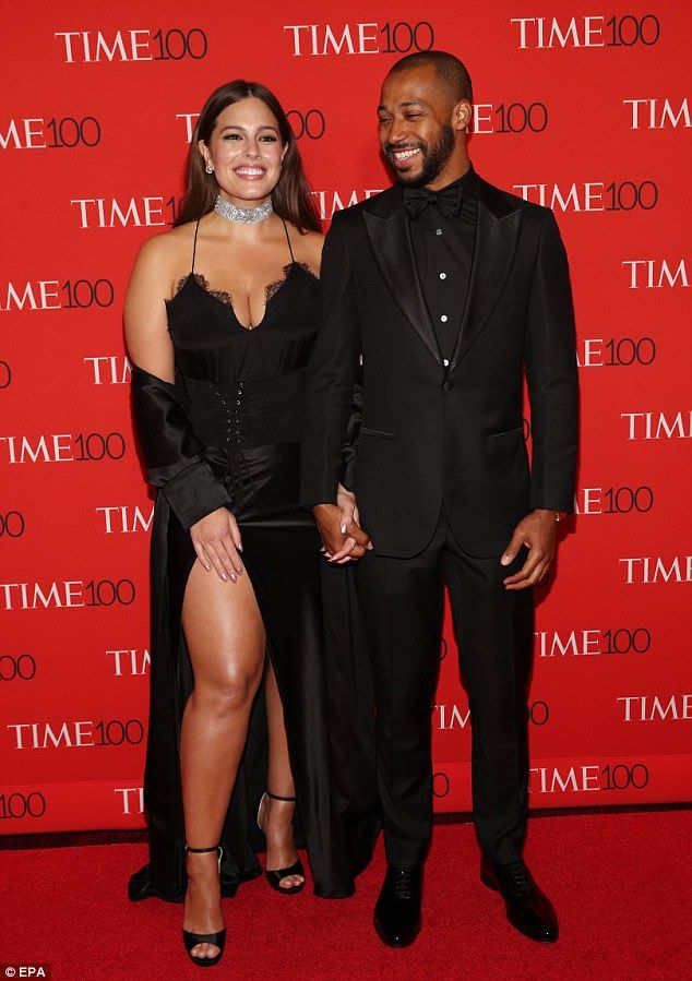 Coordinated couple: The 29-year-old star was joined by husband Justin Ervin who looked sharp in a black tux