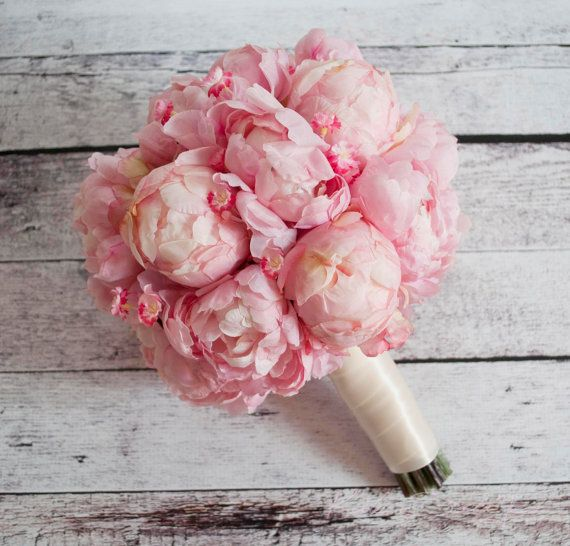 Wedding Bouquet  Pink Peony and Cherry Blossom by KateSaidYes