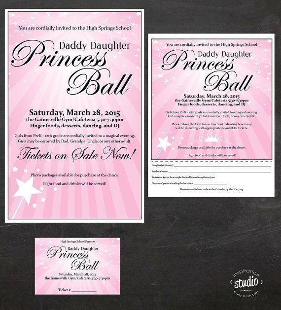 Father Daughter Dance Princess Ball Custom Printable Father Father Daughter Dance Daddy Daughter Dance School Dance Themes