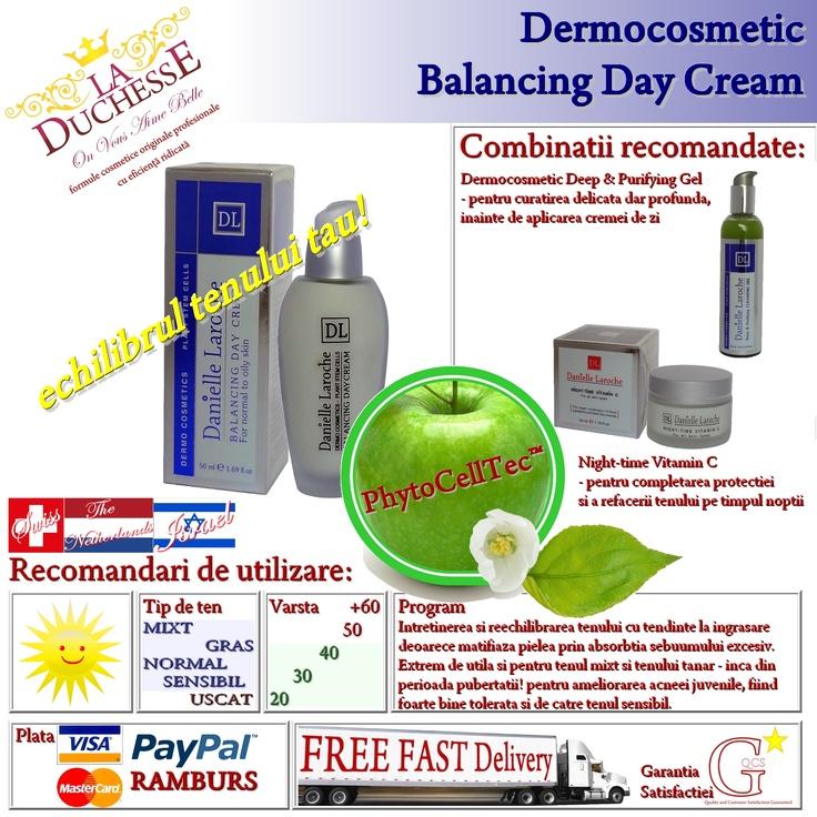 Dermocosmetic Balancing Day Cream - echilibrul tenului tau! este crema dermocosmetica pe baza de celule stem vegetale din fruct de mar obtinute prin tehnologia revolutionara elvetiana PhytoCellTec™