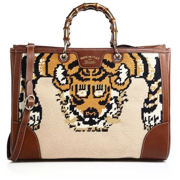 Gucci Bamboo Embroidered Tote with Tiger & Bee (€3.480) ❤ liked on Polyvore featuring bags, handbags, tote bags, apparel & accessories, multi, red purse, bamboo tote, embroidered purses, red tote and gucci tote