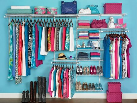 Storage solution for when you have no closet...make one on your wall!