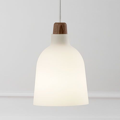 Sanded Glass Pendant Light with Timber Accent from LightworksOnline